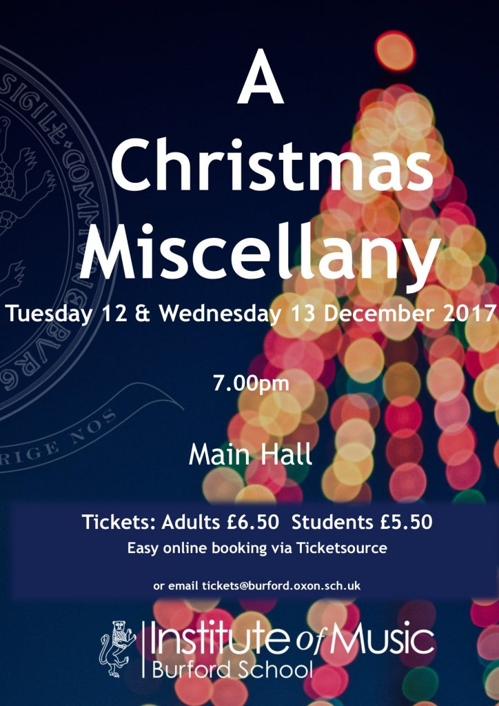 A Christmas Miscellany – Tuesday tickets valid on Wednesday